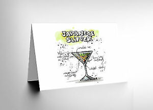 282fa5fe33406 JAPANESE SLIPPER COCKTAIL DRINK BLANK GREETINGS BIRTHDAY CARD ART ...