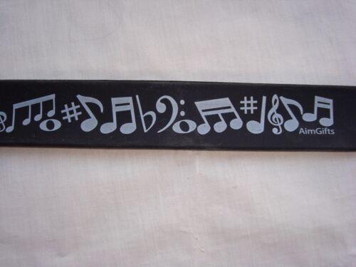 MUSIC SLAP Bracelet 11 Long Black W/MUSIC Symbols Great Gift Brand NEW