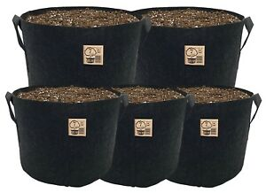 5-Pack-TH-Choice-Premium-BLACK-Fabric-Pots-Aeration-Grow-Bags-Free-Shipping