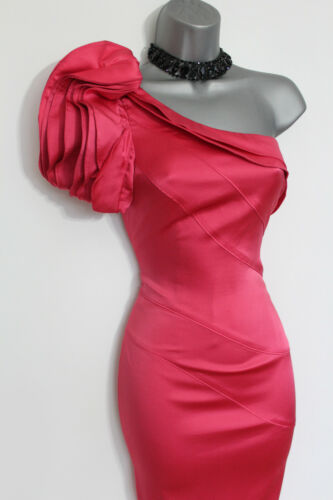 Karen Shoulder Pink Pencil One Silk Cocktail Glam Millen Coral Dress 10 Ruffle TXqwABOTrx