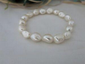Armband-19cm-aus-Echten-Perlen-Silk-Weiss-Barock-9-x-12mm-Super-Luester