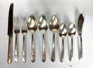 9-Stueck-Carlton-1938-La-Rose-Silverplate-Bestecke-Konvolut-Loeffel-Gabel-Messer