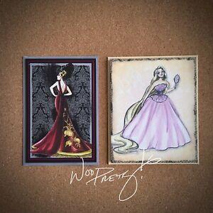 2011/2012 Disney Designer Princess Rapunzel & Villain Mother Gothel Note Cards