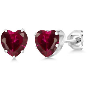1-92-Ct-Heart-Shape-6mm-Red-Created-Ruby-925-Sterling-Silver-Stud-Earrings