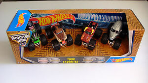 Hot-Wheels-Monster-Jam-Tour-Favorites-Grave-Digger-Mutt-El-Toro-Loco-NEA-Police