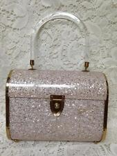 Vintage, 1950s Majestic, Lucite and Pink Confetti Boxy Purse