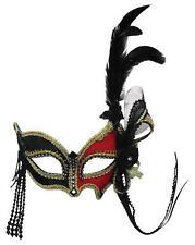 ROSSO nero occhi MASCHERA con piuma laterale VENEZIANO Masquerade Ball FANCY DRESS
