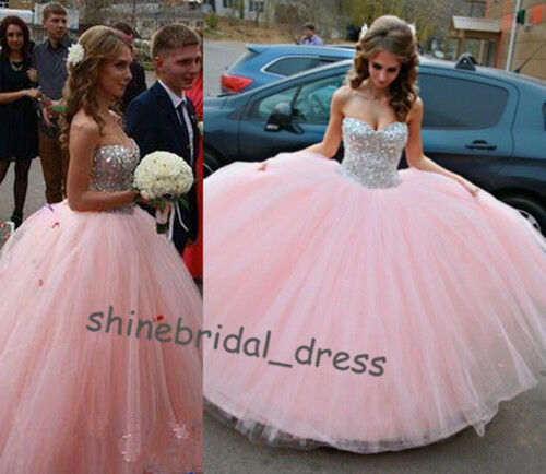 New Fashion Pink Sequined Prom Formal Ball Gowns Sweet 15 16 Quinceanera Dresses