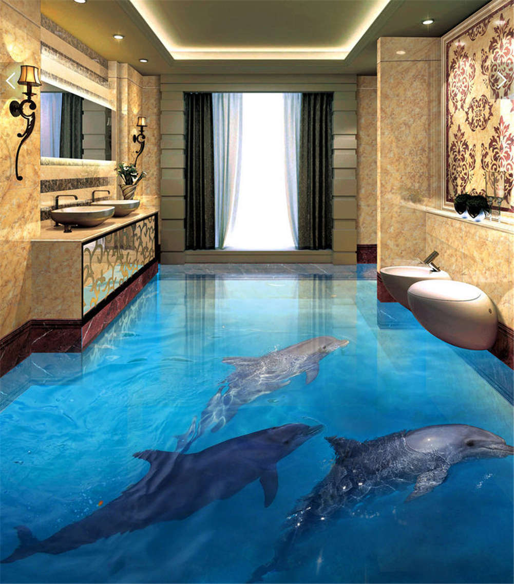 Whale On The Water 3D Floor Mural Photo Flooring Wallpaper Home Print Decoration