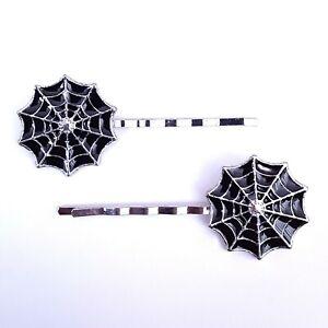 Psychobilly Gothic Rockabilly Punk Black Spiderweb Spider Web Hair Bobby Pins