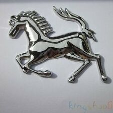 1 Piece Silver Metal Stainless Ferrari Style Horse Badge Emblem 3D Metal Sticker