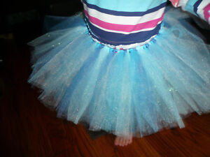 "Be Shrewd In Money Matters Handmade Tutu 1-2 Year Old 8"" Length shades Of Blue/glitter"