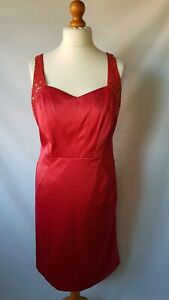 STAR-By-Julien-Macdonald-Red-Satin-Embellished-Pencil-Dress-Size-UK-16-Ex-Con