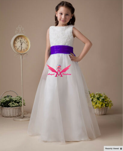 Isabelle Ivory//White Flower Girl Dress With Choice of Blue//Purple Sash /& Bow