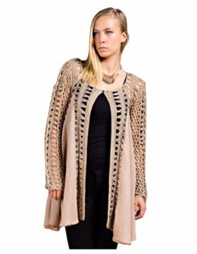 Women/'s Bohemian Crochet Frayed Cardigan Sweater S//M M//L