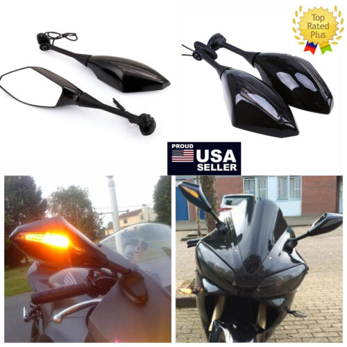 FRONT /& BACK LED TURN SIGNAL INDICATOR REARVIEW MIRRORS FOR HONDA CBR 1000R 600R