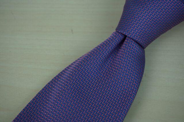 Charles Tyrwhitt Pink Purple Chevron Zig Zag Pattern 100% Silk Tie