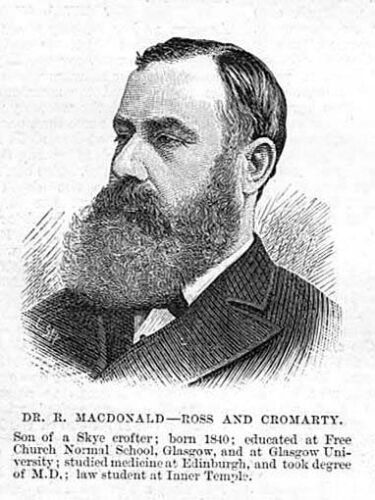 RODERICK MacDONALD Crofters Party MP for Ross /& Cromarty Antique Print 1886