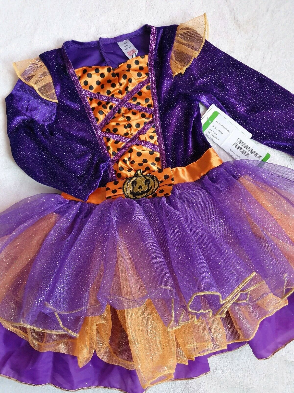 Gorgeous Halloween Costume Girl Purple Pumpkin Witch Outfit Fancy Dress 5-6 Y