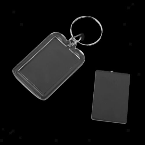 20pcs Rectangle Clear Acrylic Keyring Keychain Photo Picture Holder 38x25mm