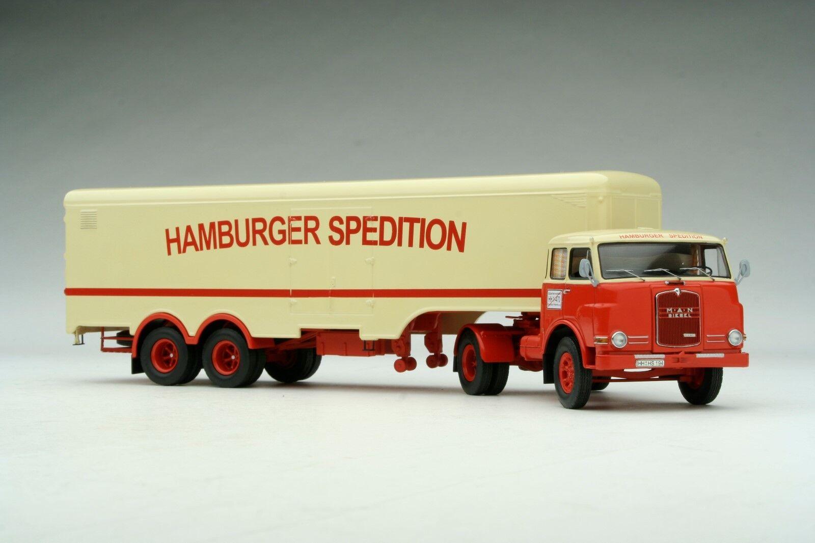 Schuco 1 43 43 43 MAN 10.210 Hamburger Spedition Heavy Duty Transporter SHU03372 948607