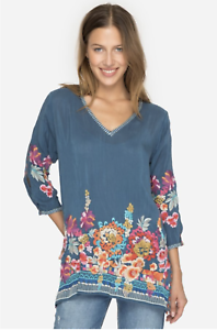 JOHNNY-WAS-Cupra-ARAXI-Embroidered-TUNIC-V-Neck-BLOUSE-Top-M-Teal-Blue-258