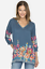 JOHNNY-WAS-Cupra-ARAXI-Embroidered-TUNIC-V-Neck-BLOUSE-Top-M-Teal-Blue-258 thumbnail 1