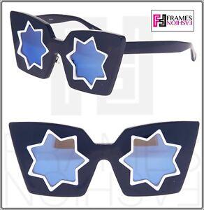 dbf8753d93c5 MARKUS LUPFER LINDA FARROW Star Navy Blue Mirrored ML10 Sunglasses ...