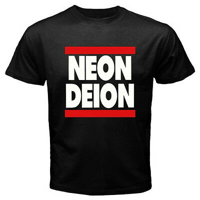 Neon Deion Sanders Primetime Atlanta Men's Black T-Shirt Size S M L XL 2XL 3XL