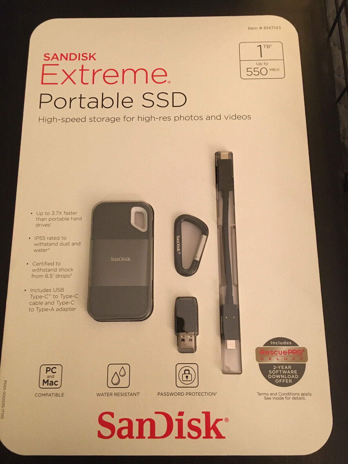 Brand New SanDisk Extreme SSD 1TB Portable External Solid State Drive . Buy it now for 105.00
