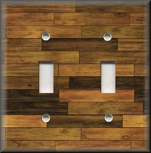 Light Switch Plate Cover - Home Decor - Rustic - Image Of Wood Planks 02