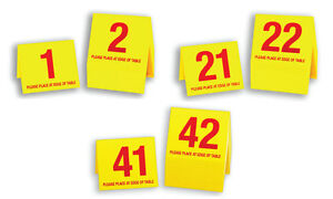 Table Numbers 1-60, Plastic Tent Style, Yellow w/Red Number, Free Shipping