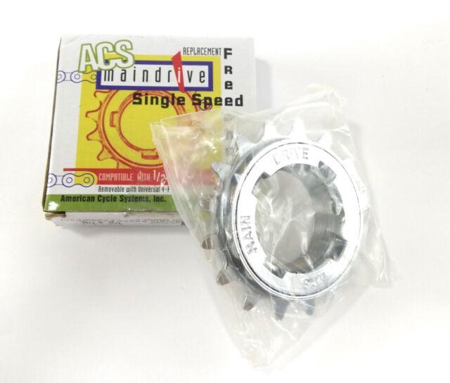 "ACS Maindrive 1//8/"" Freewheel Chrome BMX Single Speed Bike Cromo 16 17 or 18t"
