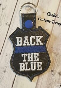 Back-the-Blue-Police-Officer-police-badge-Key-chain-FREE-SHIPPING