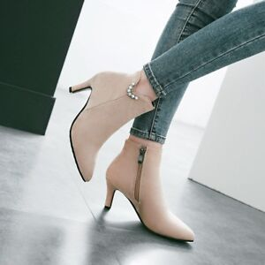 Women-Suede-Pointed-Toe-Kitten-Heels-Ankle-Boots-Fashion-Side-Zipper-Shoes-New