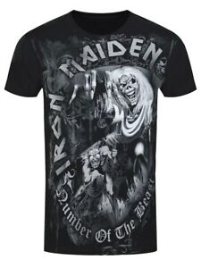 Iron-Maiden-Number-of-the-Beast-Grey-Tone-Mens-Black-T-Shirt