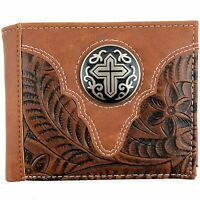 Premium Western Cowboys Mens Wallet Tan Leather Cross Wallet Carved Design
