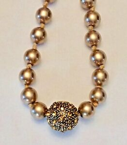 Vintage Taupe Pearl and Cord Necklace