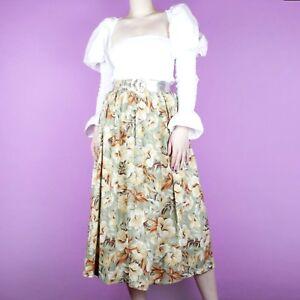 eff1963af VINTAGE Beige 90s 80s Cream Pattern Pastel Summer Grunge Floral Midi ...