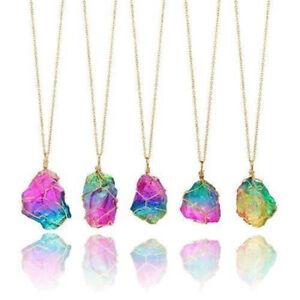 Rainbow Stone Crystal Chakra Rock Chain Necklace Quartz Pendant Natural