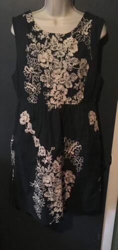 voering mouwloze geborduurde jurk grijze J met 10 Crew katoenen maat crème Floral wqqzg