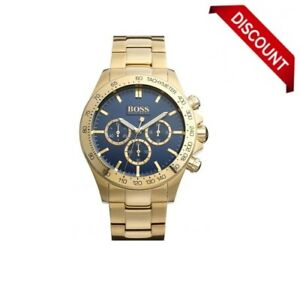 BRAND-NEW-HUGO-BOSS-HB-1513340-MENS-IKON-STEEL-GOLD-BLUE-DIAL-CHRONOGRAPH-WATCH