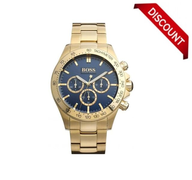 BRAND NEW HUGO BOSS HB 1513340 MENS IKON STEEL GOLD BLUE DIAL CHRONOGRAPH WATCH