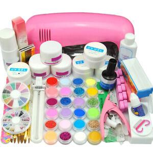 Full-Acrylic-Nail-Art-Tool-Kit-Set-UV-Gel-Powder-Liquid-9w-LED-Lamp-Tips-DIY-Set