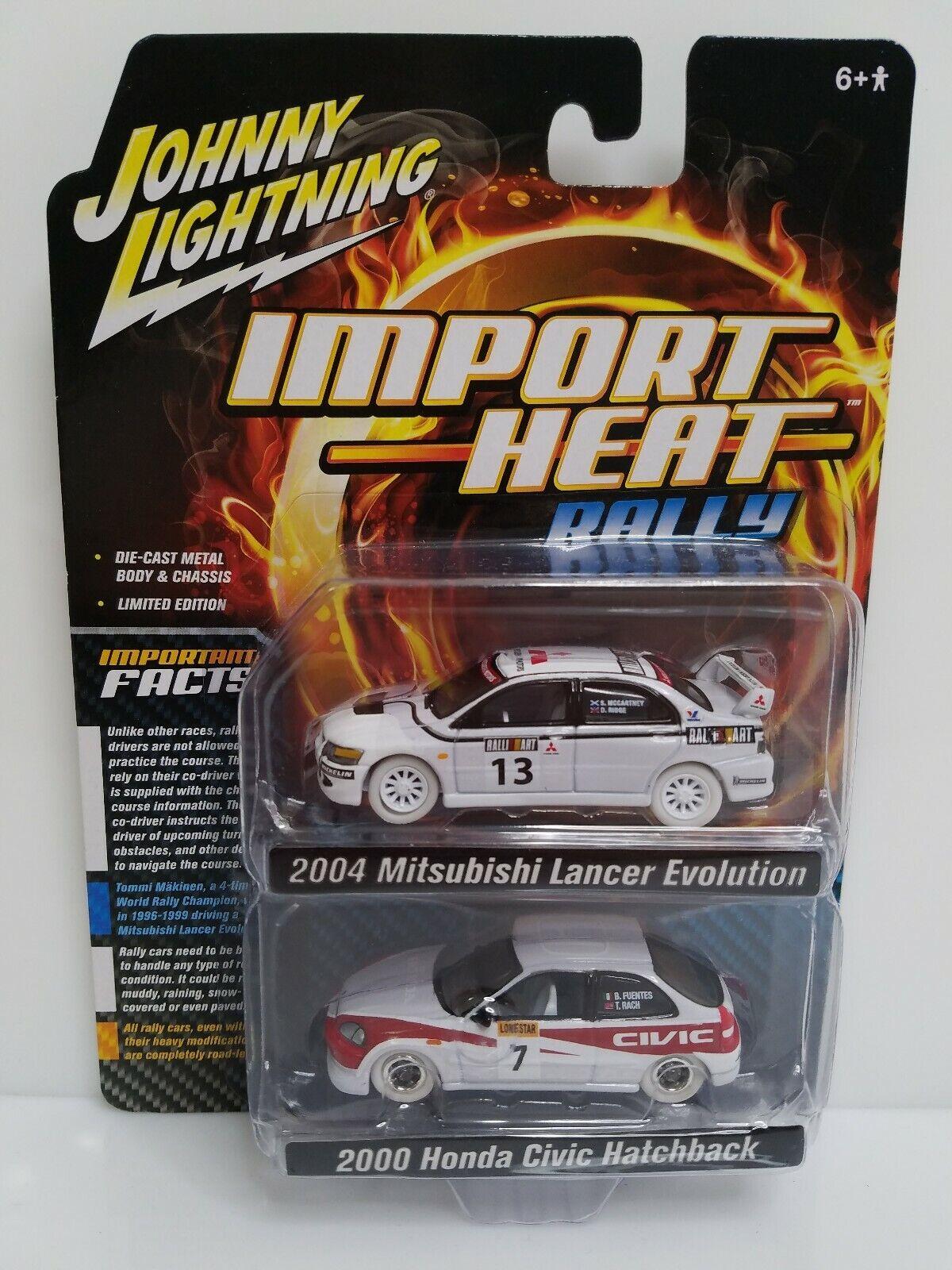 Rare Johnny Lightning Import Heat Rally Civic Lancer White Lightning Chase Set