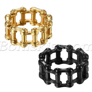 Men-039-s-Biker-Unique-Stainless-Steel-Bike-Bicycle-Chain-Link-Ring-Band-Size-8-13