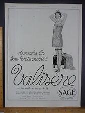Rare Original VTG 1924 Valisere Underwear L'Illustration Advertising Art Print