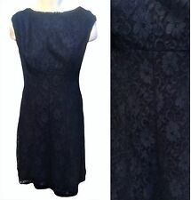 Blue Lace Cocktail Dress Size 14W 1X Ralph Lauren Sleeveless  V-Neck in back