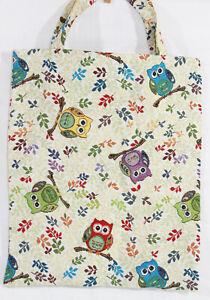 Eulen-Einkaufsbeutel-Uhu-Einkaufstasche-Shopper-Gobelin-Tapestry