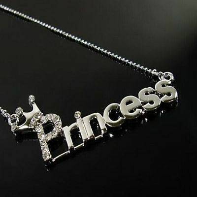 2016 Fashion Letters 'Princess' With Crown Clavicle Chain Pendant Necklace NEW